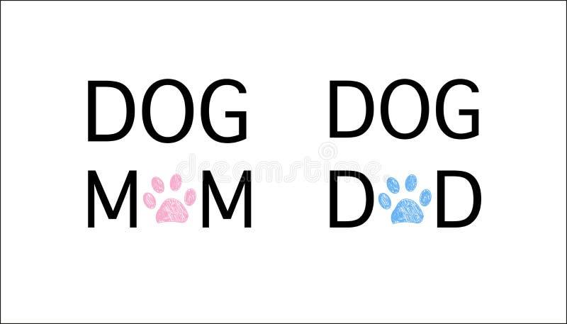 Kot mama ``, tekst i kot sylwetki symbol ``, kota tata Błękitny i różowy barwiony ilustracji