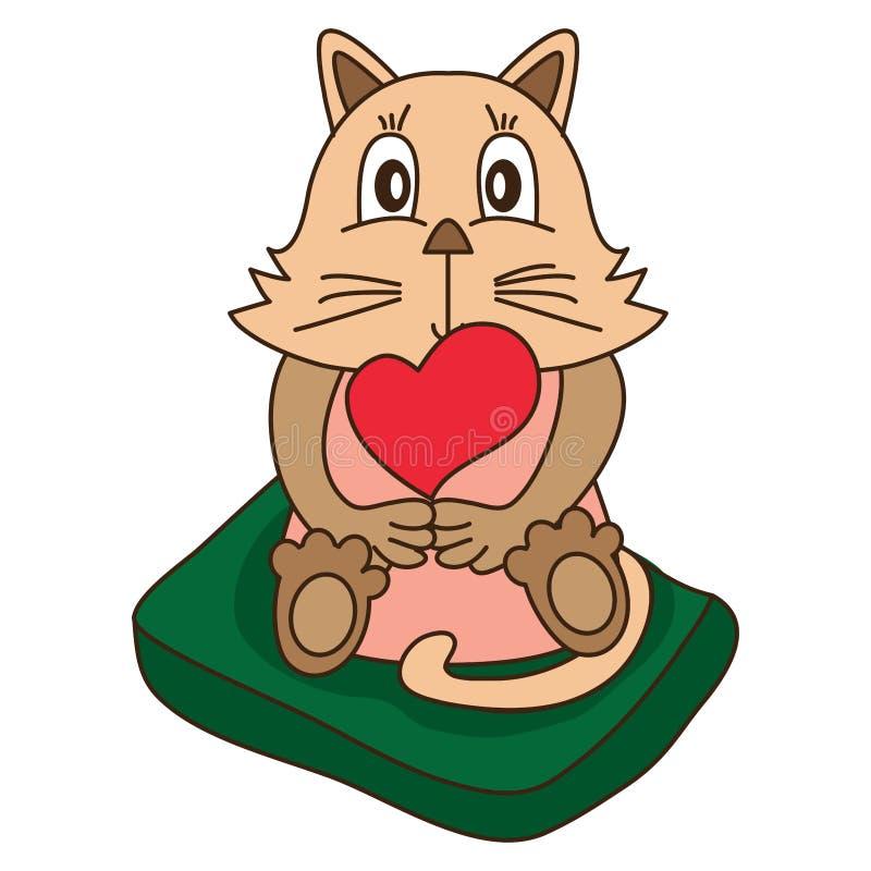 Kot miłość śliczna siedzi puszek ilustracji