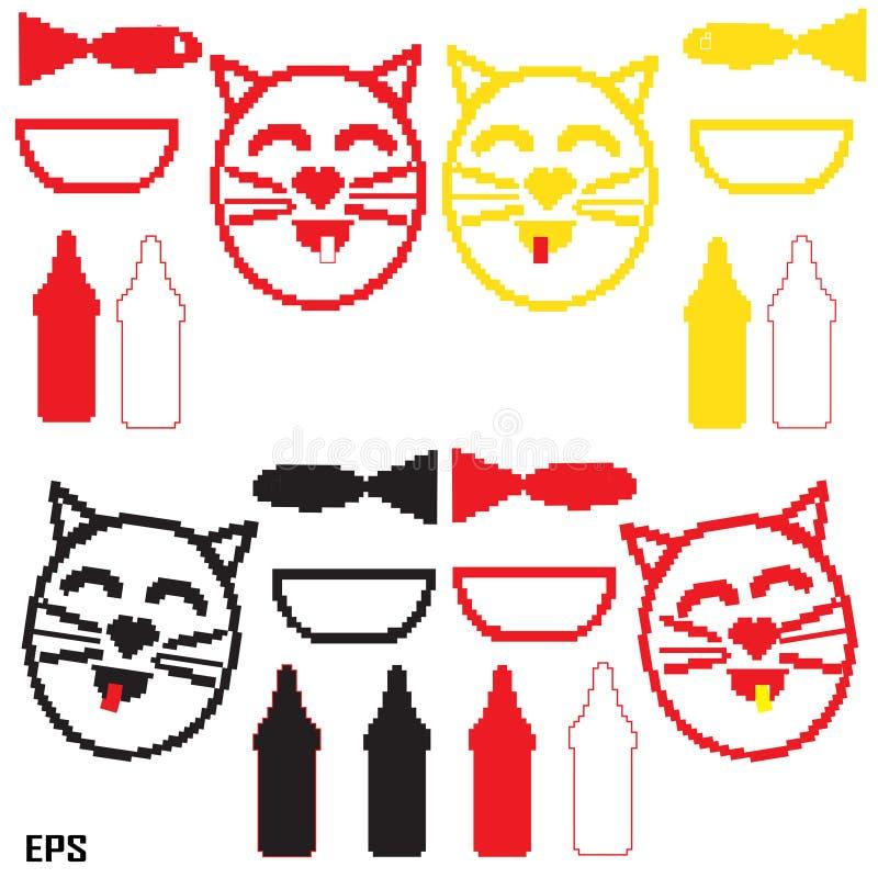 Kot, mleko, piksel, puchar, ryba, czarna obrazy stock