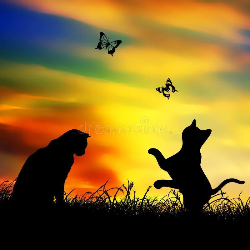 kot motylia sztuka ilustracja wektor
