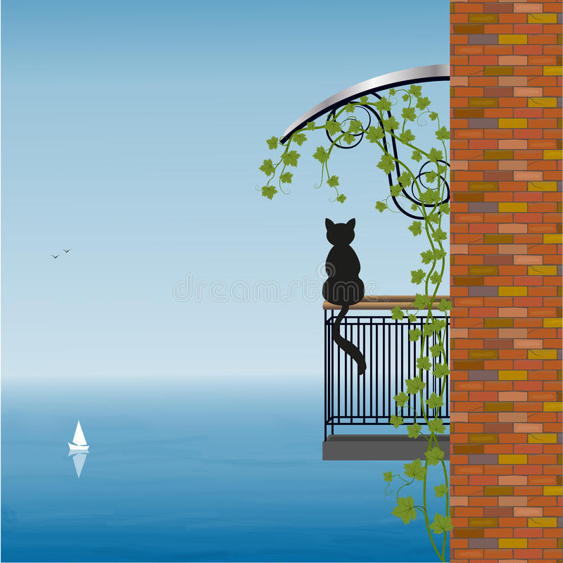 Kot na balkonie ilustracji