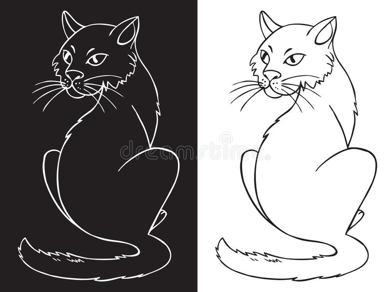 Kot na białym i czarnym tle royalty ilustracja