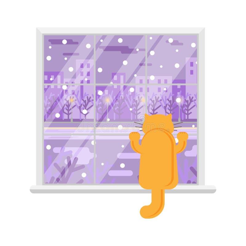 Kot na okno Okno z zima krajobrazem równo Odosobniony wizerunek royalty ilustracja