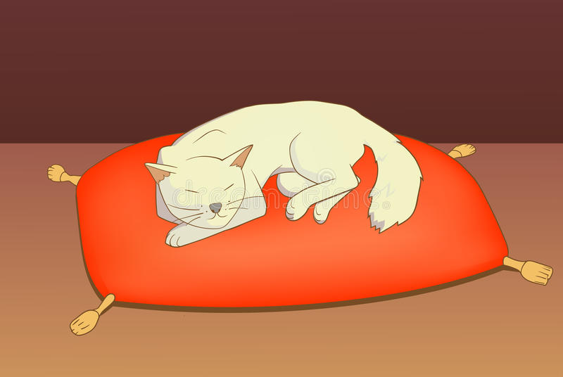 Kot na poduszce royalty ilustracja