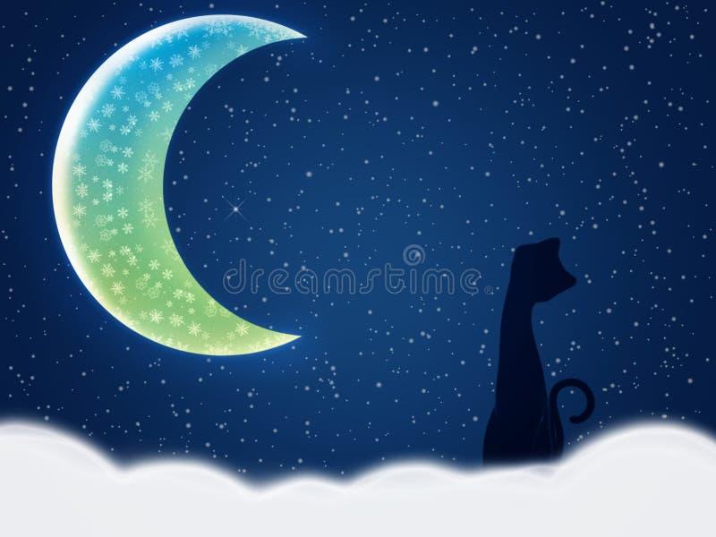 kot nocy zima royalty ilustracja