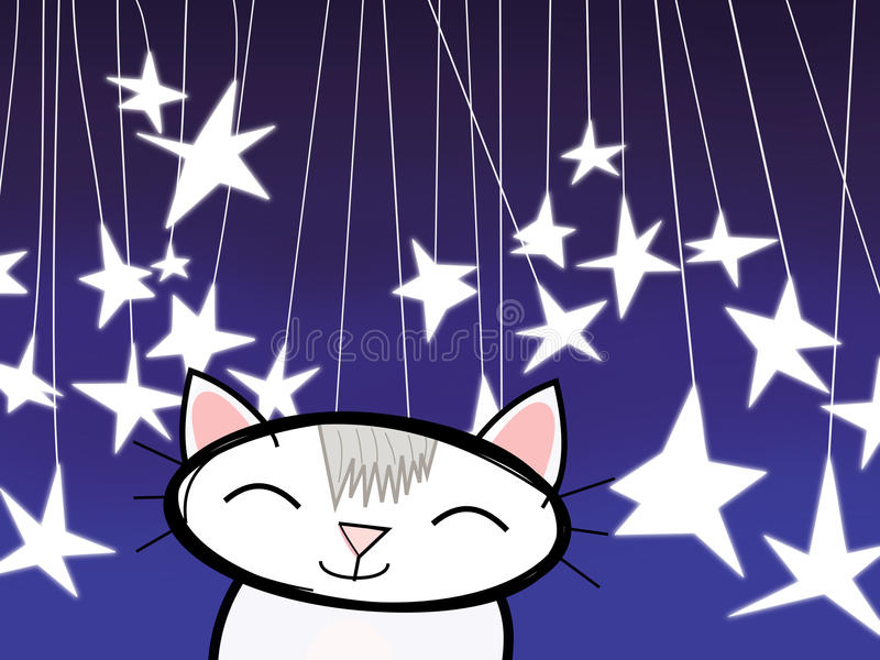 Kot Od gwiazd ilustracji