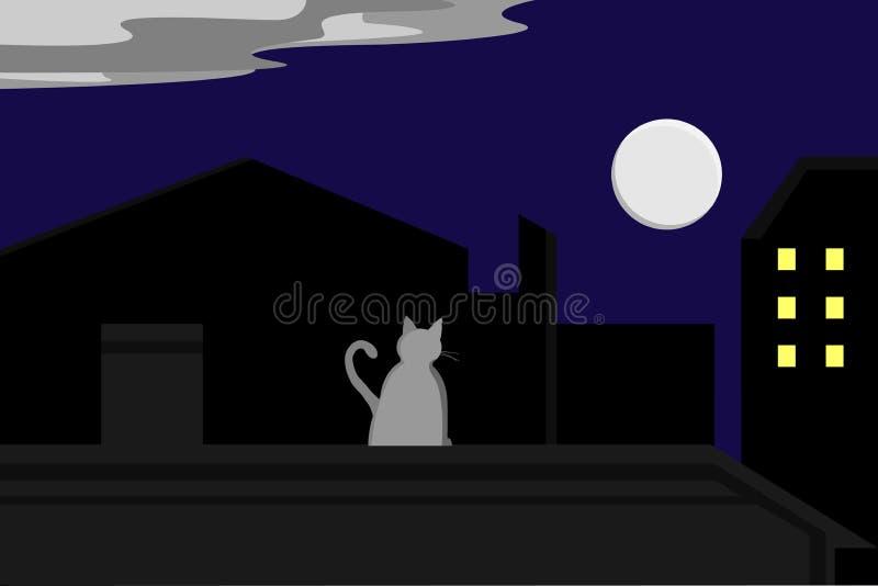 Kot ono wpatruje się przy księżyc ilustracja wektor
