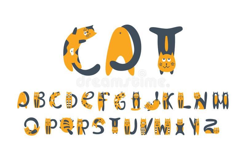 Kot płaska wektorowa chrzcielnica Koci się kreskówka stylizujących abecadło śmiałych symbole ilustracji
