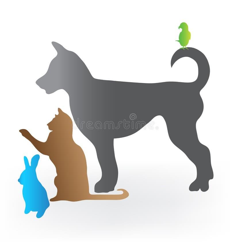 Kot papugi i królika psi logo ilustracji