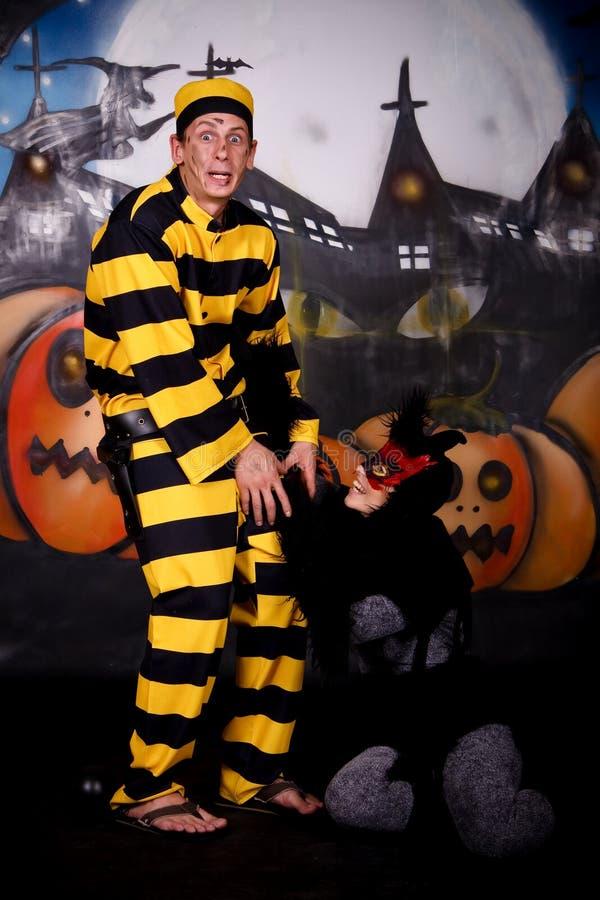 kot para Dalton Halloween obraz royalty free