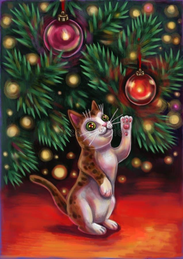 Kot pod drzewem ilustracji