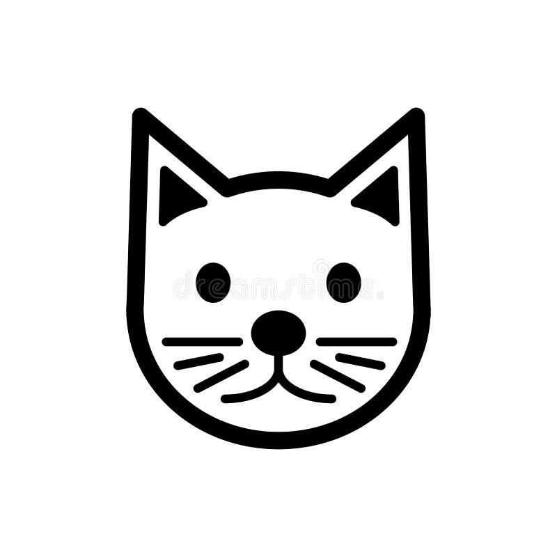 Kot prosta wektorowa ikona Czarny i biały ilustracja kot Konturu kota głowy liniowa ikona ilustracji