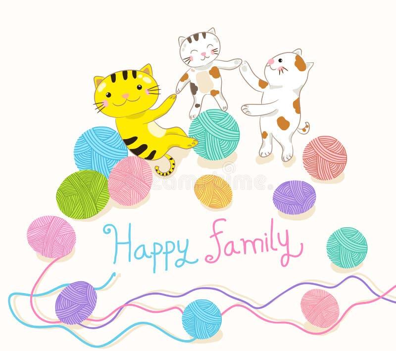 Kot rodzina bawić się przędzy balową wektorową ilustrację royalty ilustracja