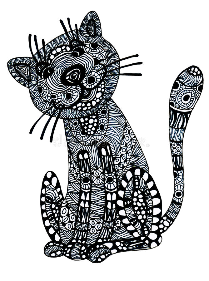 kot rysująca ręka royalty ilustracja