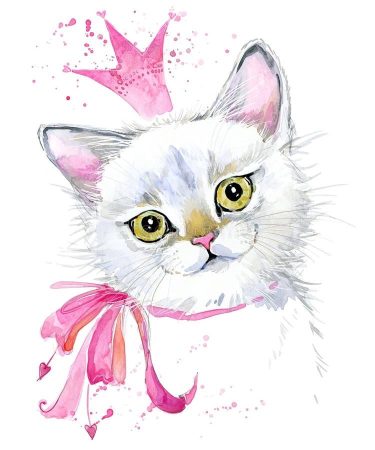 kot słodkie kota Akwarela kota ilustracja royalty ilustracja