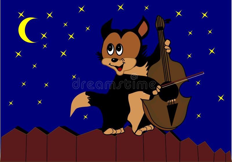 kot sztuki płotu skrzypce. ilustracja wektor