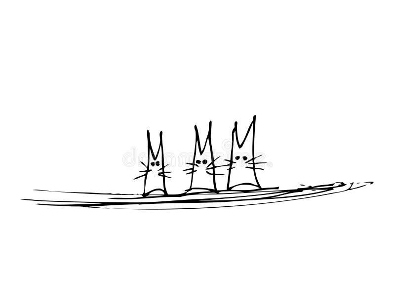 kot trzy royalty ilustracja