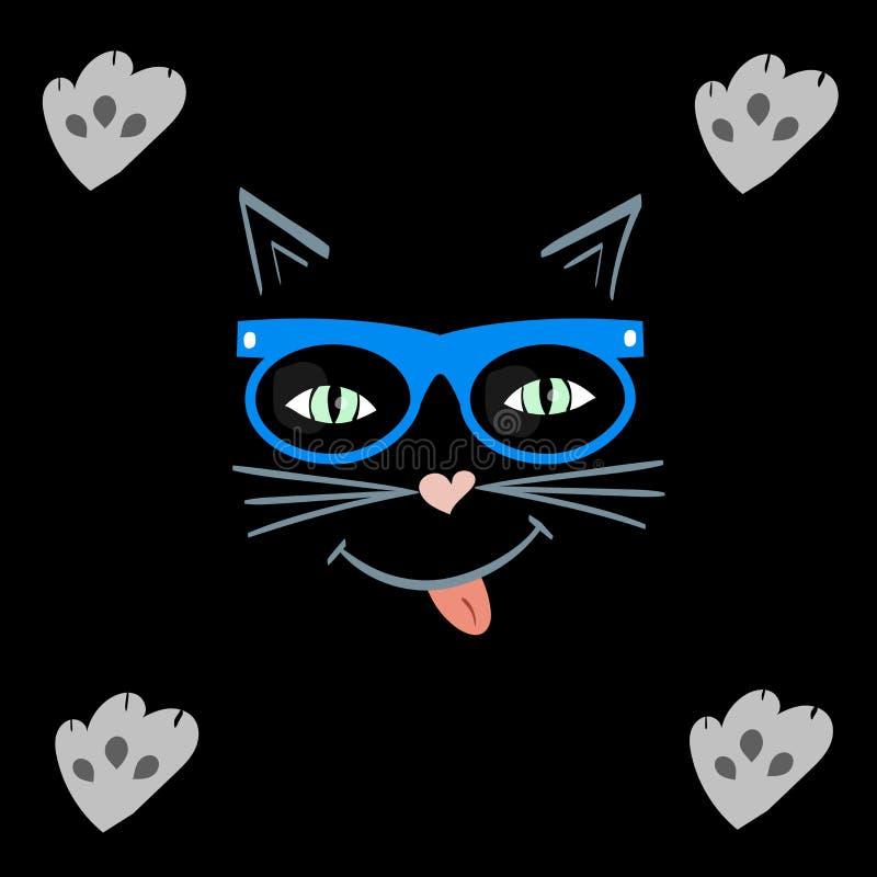 Kot twarz która ono uśmiecha się zwierzę domowe w modnisiów szkłach ilustracja wektor