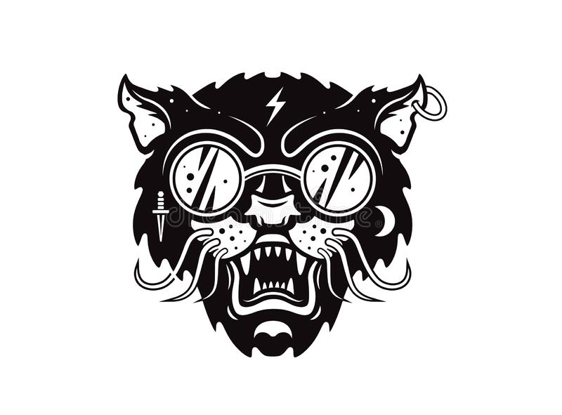 Kot twarz z szkłami Graficznego projekta wektorowa zwierzęca ilustracja dla koszulki ilustracja wektor