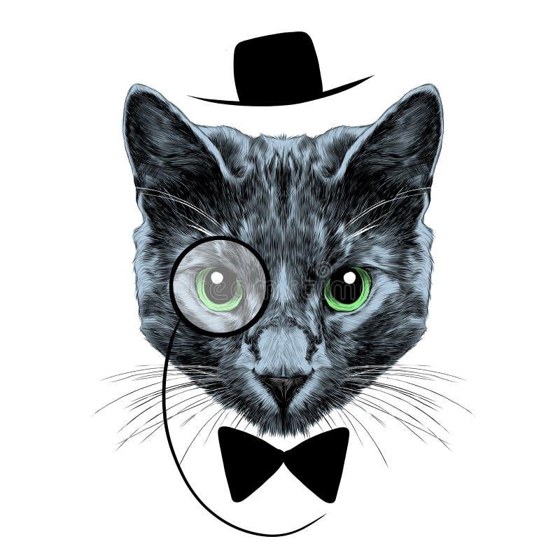 Kot twarzy nakreślenia wektor royalty ilustracja