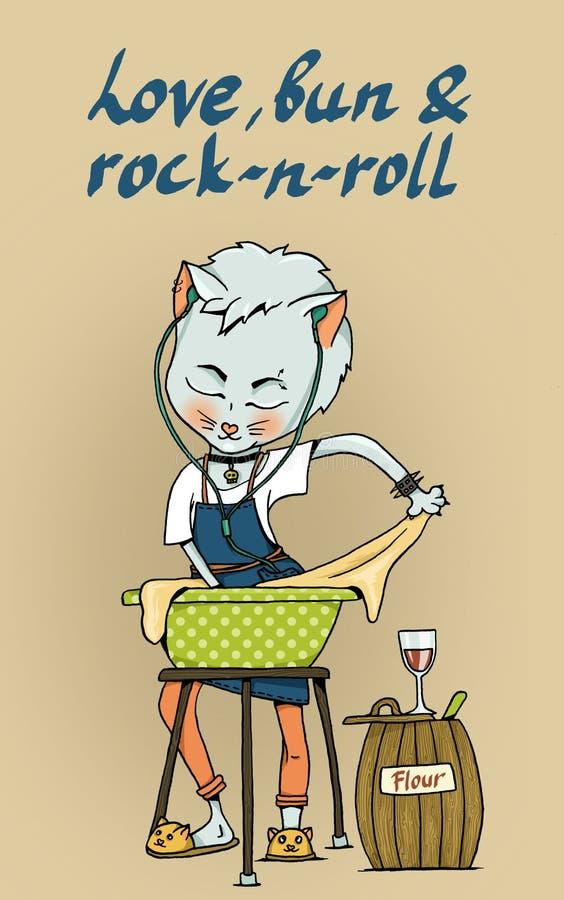 Kot ugniata ciasto dla babeczek ilustracja wektor