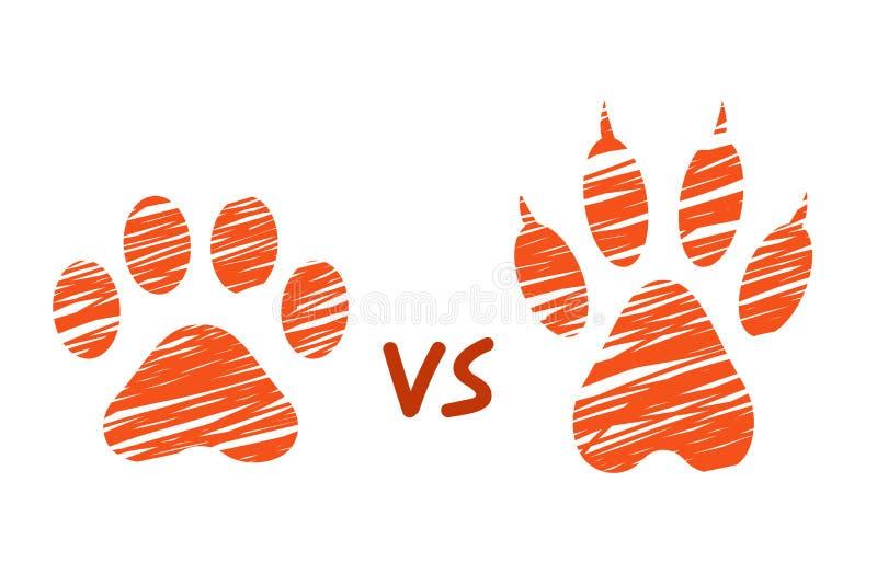 Kot vs pies i kot odciski stopy, stylizować porysowane łapy, klujący się zwierzę kroki, próby i ślada psi concent, kreślący, ilustracja wektor