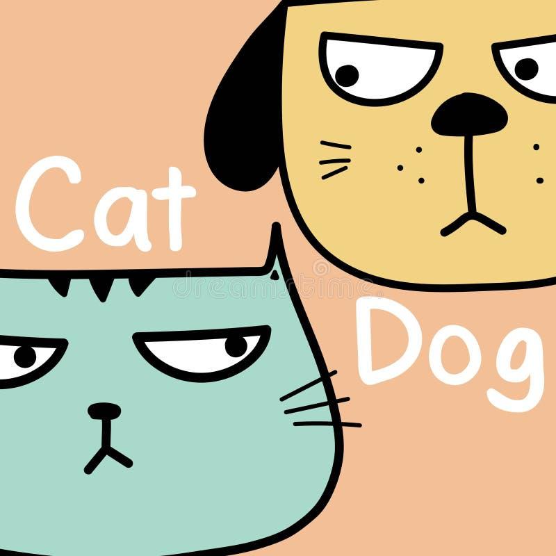 Kot Vs Psi tło royalty ilustracja