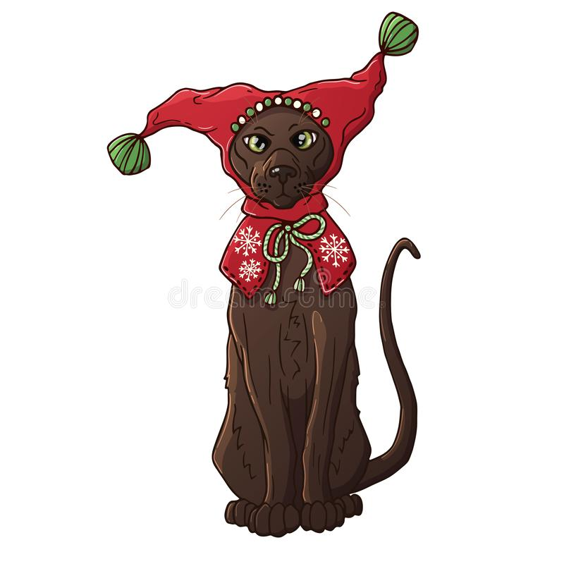 Kot w Bożenarodzeniowym kapeluszu ilustracji