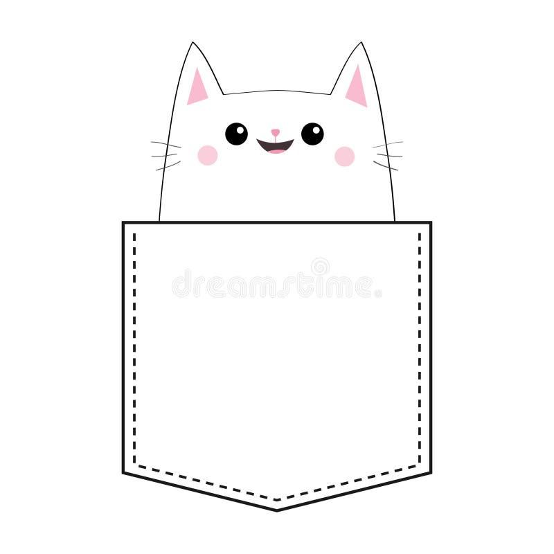 Kot w kieszeni Doodle liniowy nakreślenie Różowi policzki śliczna zwierzę kreskówka Figlarki kiciuni charakter tła czerń zakończe royalty ilustracja