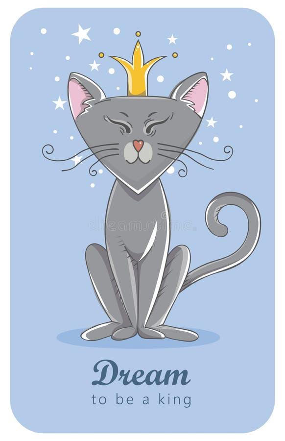 Kot w koronie sen ilustracji