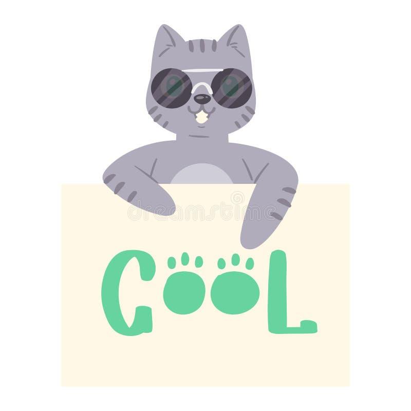Kot w sunglass sztandaru figlarki charakteru wektorowym zerkaniu za kartonowym kiciuni mienia kopii przestrzeni wiadomości plakat ilustracja wektor
