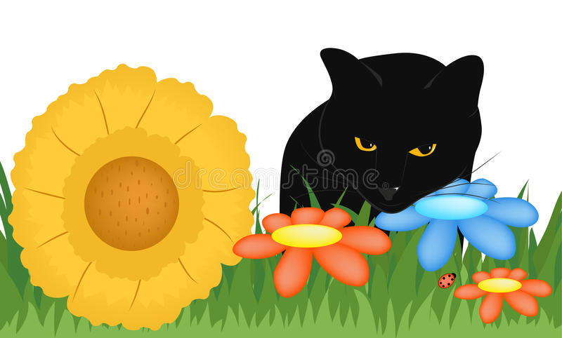 Kot w trawie royalty ilustracja
