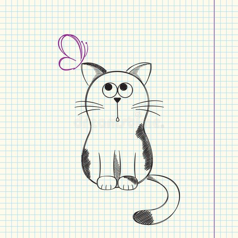 Kot z motylem royalty ilustracja