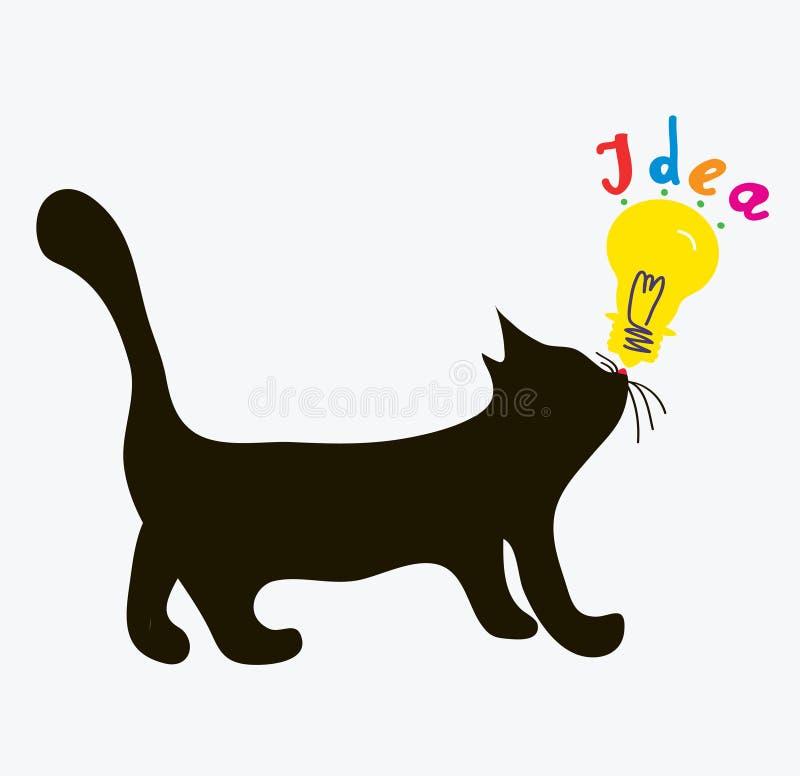 Kot z pomysł żarówką royalty ilustracja