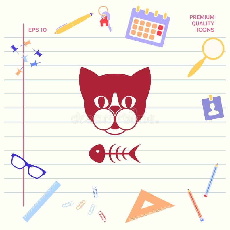 Kot z rybim koścem royalty ilustracja