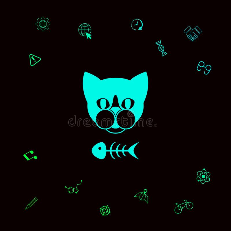 Kot z rybim koścem ilustracji