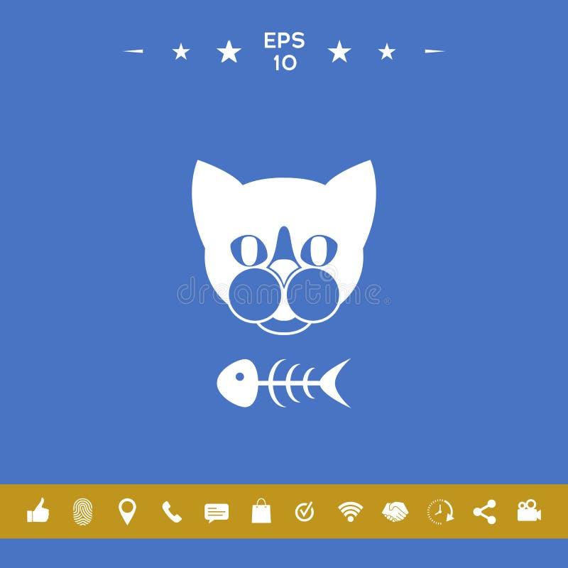 Kot z rybim koścem ilustracja wektor