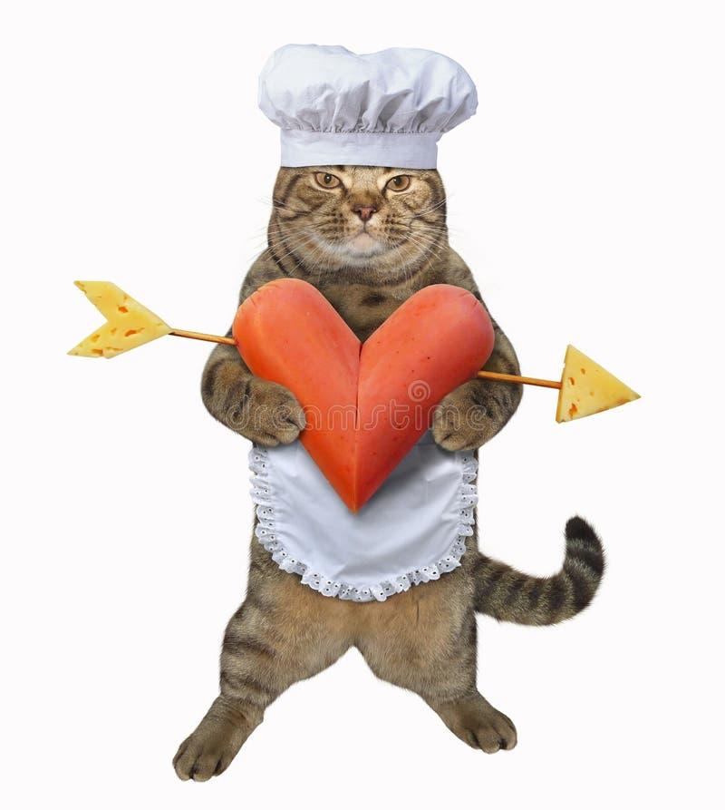 Kot z sercowatą kiełbasą fotografia stock