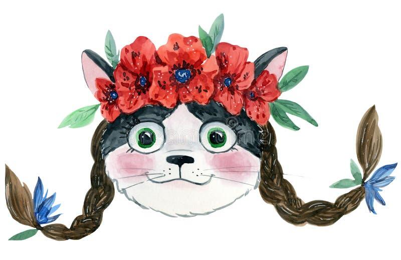 Kot z warkoczami w kwiatach royalty ilustracja