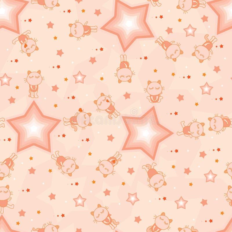 Kot zabawy gwiazdy pomarańczowego koloru bezszwowy wzór royalty ilustracja