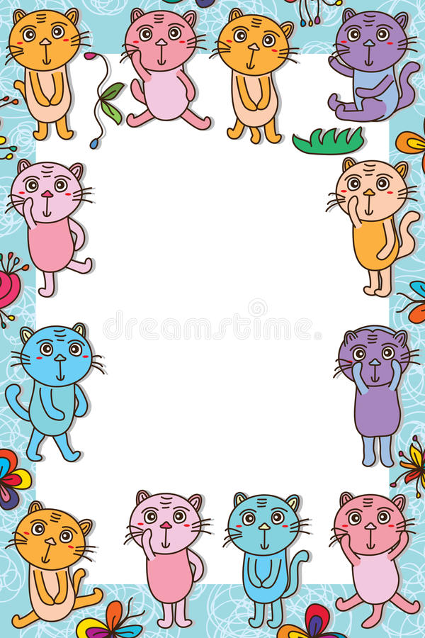 Kot zabawy ramy bielu śliczna rama royalty ilustracja