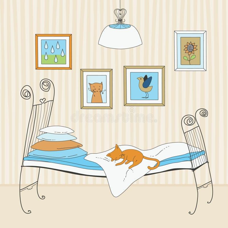 kota łóżkowy dosypianie ilustracja wektor