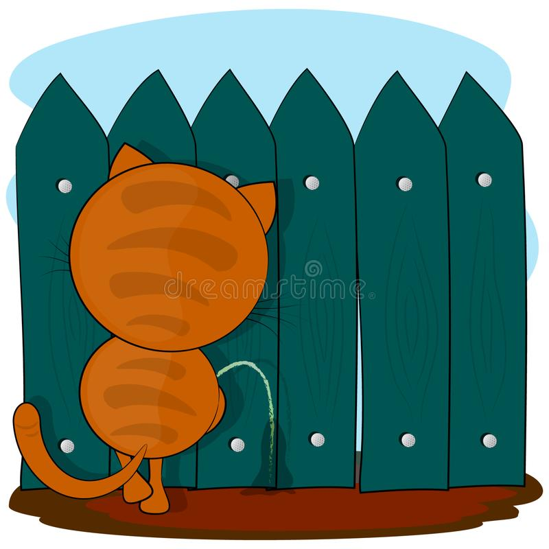 Kota łobuz obcy kresk?wki kota ucieczek ilustraci dachu wektor ilustracji