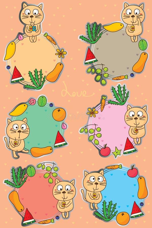 Kota ślicznego napoju majcheru etykietki owocowy set ilustracja wektor