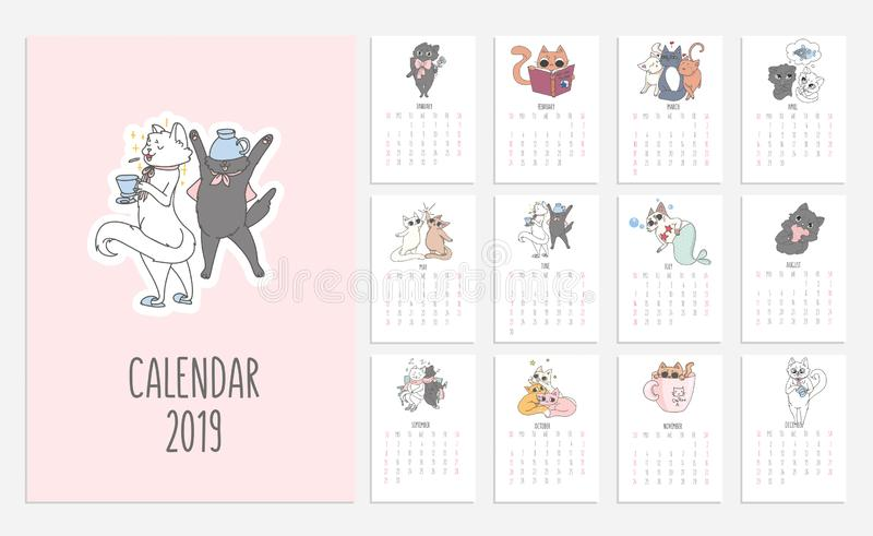 Kota śliczny kalendarz dla 2019 z doodled kiciuniami Wektorowy planista royalty ilustracja