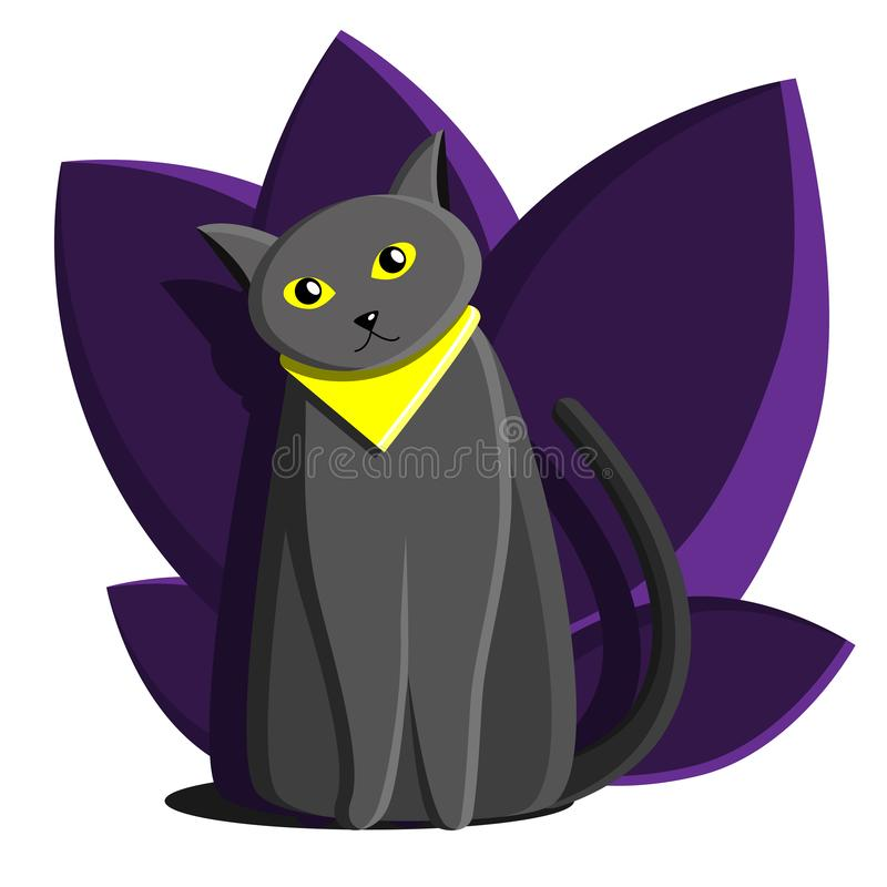 Kota Brytyjski szary błękit Z żółtymi oczami i żółtym bandażem Kota podr??nik P?aska kresk?wki ilustracja Kot z roślinami i liśćm royalty ilustracja