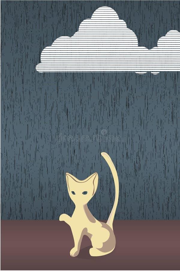 kota deszcz royalty ilustracja