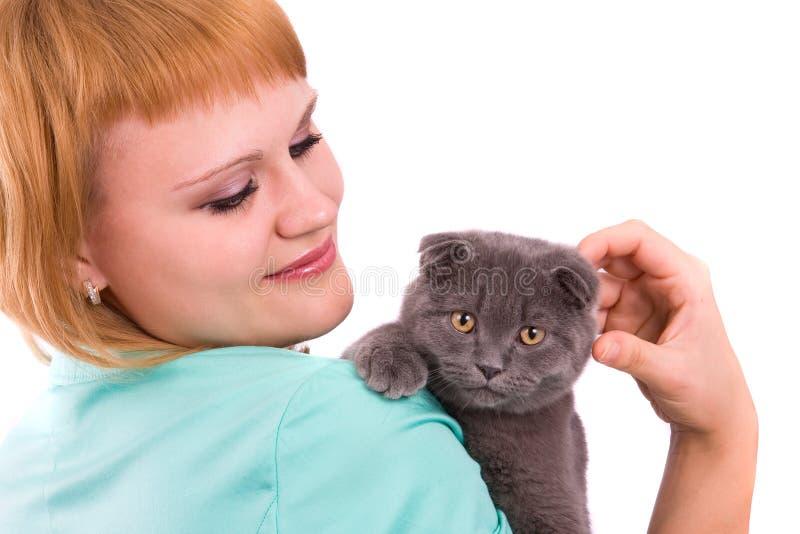 kota fałdu scottish kobieta fotografia stock