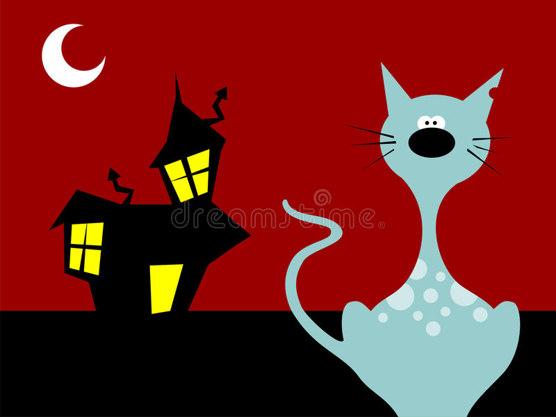 kota Halloween noc royalty ilustracja