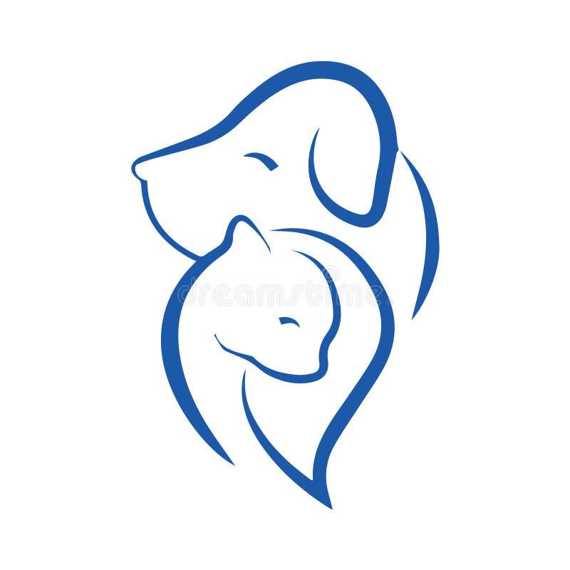 Kota i psa ikona royalty ilustracja